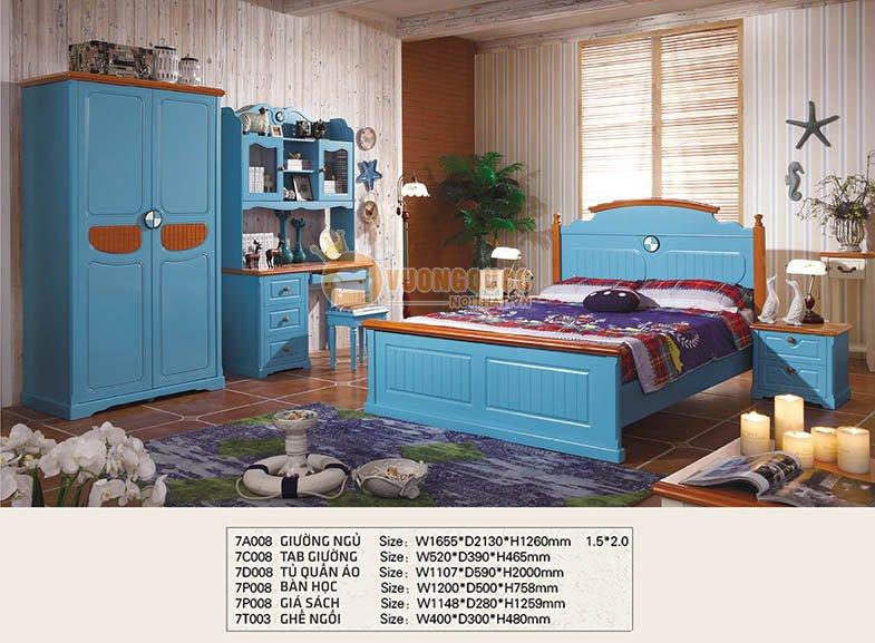 Bộ phòng ngủ màu xanh dương cá tính CTH7A008