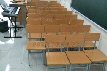 Ghế học sinh dùng cho trường học mặt gỗ chân sắt kiểu dáng gọn nhẹ